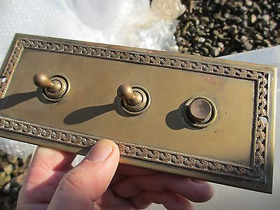 Vintage Brass Plate Light Switch Ceramic Crabtree Architectural Antique Bell Old