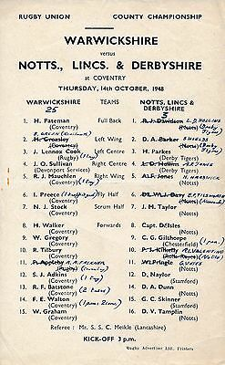 RUGBY UNION: Warwickshire v Notts Lincs & Derbyshire (County Champs) 1948
