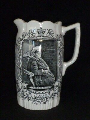 Rare Queen Victoria Diamond Jubilee Jug by Campbellfield Pottery Glasgow, 1897