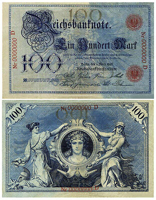 100 Mark, 1895, Reichsbanknote, Reproduktion