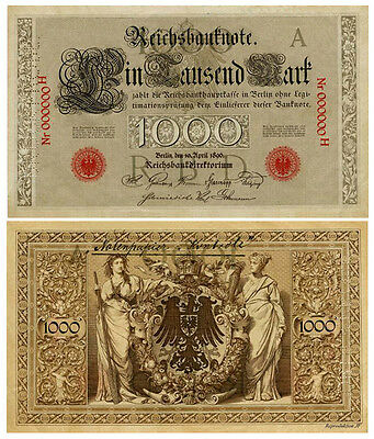 1000 Mark, 1896, Reichsbanknote, Probe, Reproduktion