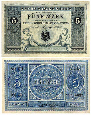 5  Mark, 1874, Reichsbanknote, Reproduktion