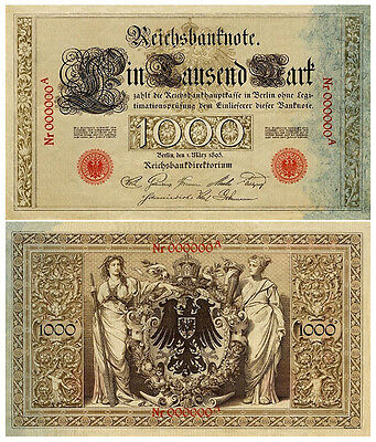 1000 Mark, 1895, Reichsbanknote, Reproduktion