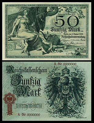 50  Mark, 1899, Reichsbanknote, Reproduktion