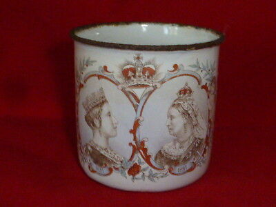 Rare & Charming Antique Queen Victoria Diamond Jubilee Enamelware Mug, 1897
