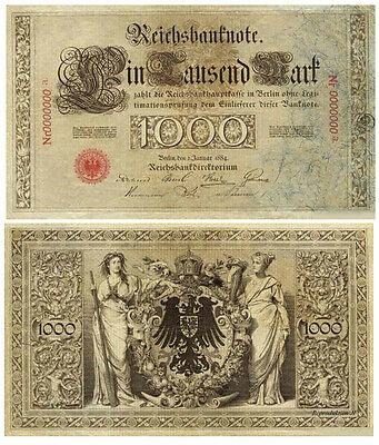 1000 Mark, 1884, Reichsbanknote, Reproduktion