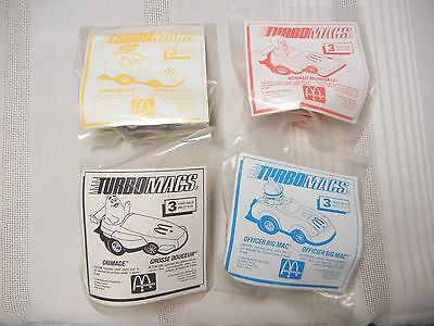 McDONALD'S TOYS - TURBOMAC CARS - SET OF 4 - NEW IN PKG.- 1988