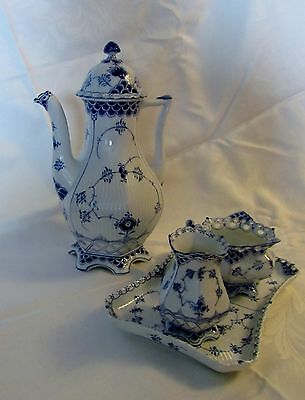 Royal Copenhagen Blue Fluted Full Lace Creamer, Open Sugar Bowl and Tray