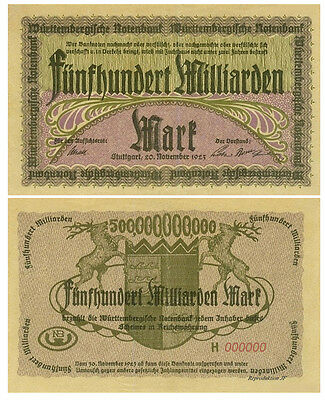 500 Milliarden Mark, 1923, Württenberg, Reproduktion
