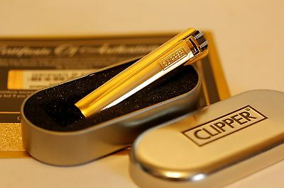 Luxury 24Ct Gold Plated Classic Clipper Cigarette Cigar Lighter In Gift Tin