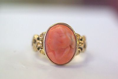 Antique Victorian 10K Yellow Gold Carved Cameo Coral Ring