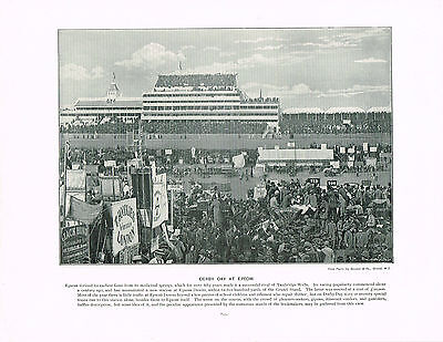 Derby Day At Epsom - Antique Print 1901