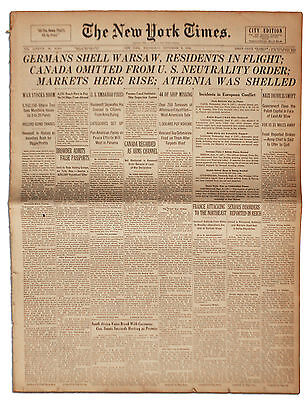 New York Times'' ''Germans Shell Warsaw'' 6 Sept 1939