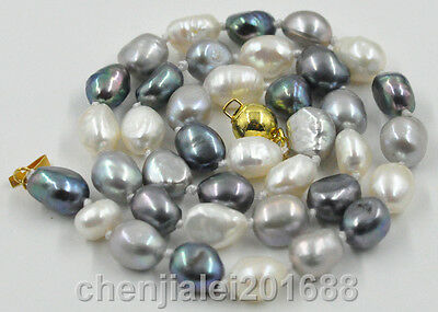 New 8-9mm white black gray freshwater cultured pearl necklace AAA