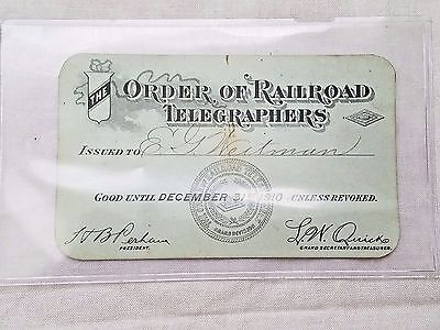 RARE Antique Signed Railroad Collectible, The Order of Railroad Telegraphers