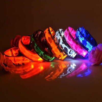 New Adjustable Nylon Lighting Camo Collar LED Pet Safety Dog Light Up Night