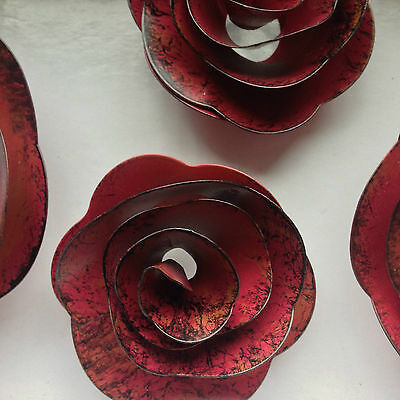 Rustic Red Metal Roses, Distressed, Rustic, Home Decor, Wall Accent Decoration