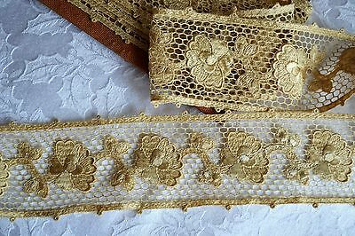 """7.26_Yds_Antique_French_Crocheted_Lace_Trim_3.2""""_Wide_Made_In_France"""