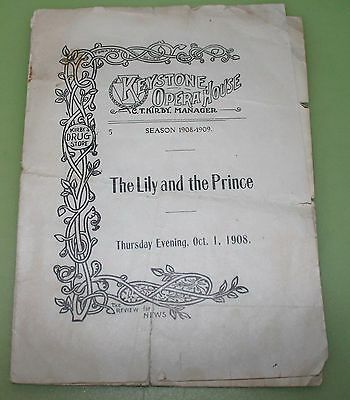 1908 Program Keystone Opera House Towanda  PA