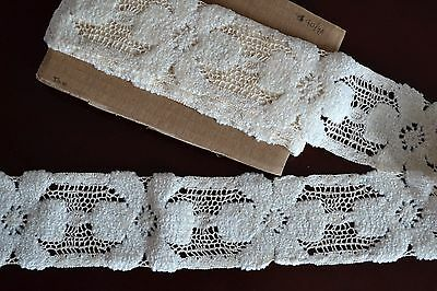 """4.01_Yds_Vtg_ Crocheted_Chenille_lace_Trim_Made_In_France_3""""_Wide_Gorgeous!"""