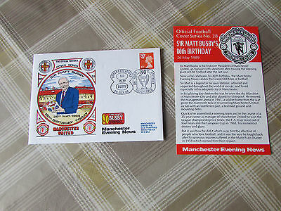 Sir Matt Busby 80 Birthday MANCHESTER United 1989 Official FOOTBALL Cover Series