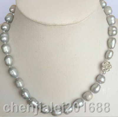New 9-10MM SILVER GRAY REAL BAROQUE CULTURED PEARL NECKLACE silver clasp