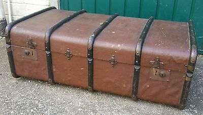 "Fab Vintage Steamer Trunk/Chest, 36 x 21 x 13"", Good Coffee Table/Extra Storage"
