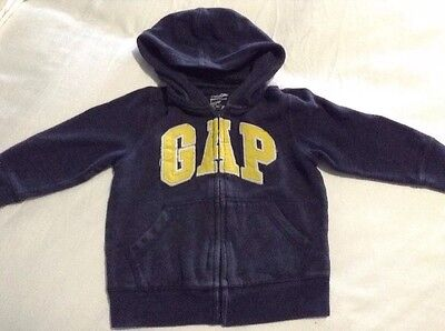 Baby Gap Boys Blue Yellow Logo Zip Up Hoodie Sweater Size 2T