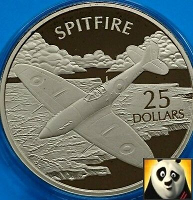 2005 SOLOMON ISLANDS $25 Dollars SPITFIRE  .999 Silver & Gold Proof Coin