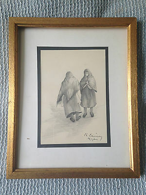 Old original drawing 'Meeting' signed by Ch.Larivey circa 1950 or ealier