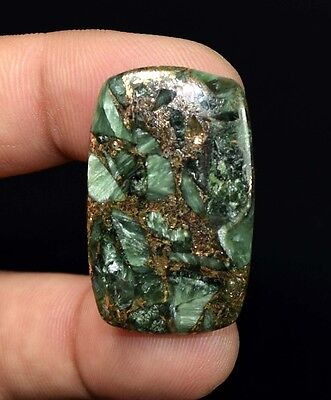 Brilliant  31.75 Cts. Natural Copper Seraphinite Cab For Sterling Silver Jewelry