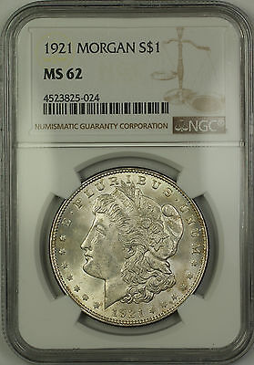 1921 Morgan Silver Dollar $1 Coin NGC MS-62 Toned Reverse (15d)