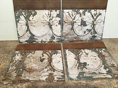 """4 12"""" by 12""""  Antique Ceiling Tin Tile Vintage Reclaimed Salvage Re Purpose Art"""