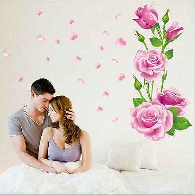 Removable large pink rose flower Home living room Mural Decal Wall Sticker   S6#