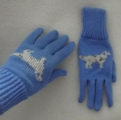 ENGLISH SETTER dog on NEW knitted adult size GLOVES blue colour