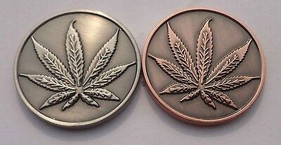 Marijuana Leaf THC Molecule Cannabis Coin Solid Brass
