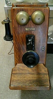 Vintage Western Electric Hand Crank Oak Wall Phone 317 Early 1900's