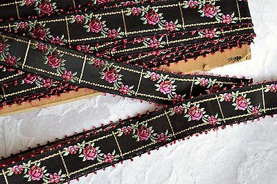 13.21_Yds_Vintage_French_Embroidered_Silk_&_Gold_Metallic_Thread_Jacquard_Ribbon