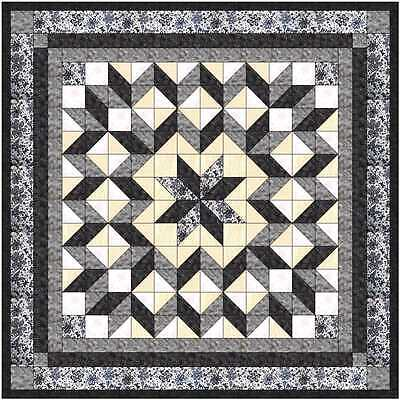 Easy Quilt Kit/Galaxy Star/Black and White /Pre-cut Fabrics Ready To Sew!****