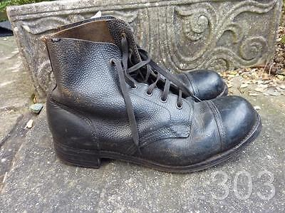 Korean War British Military Army Drill Ammo Black Leather Boots Size 8S Hobnail
