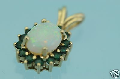 14k Yellow Gold  Opal and Emerald pendant, Mint