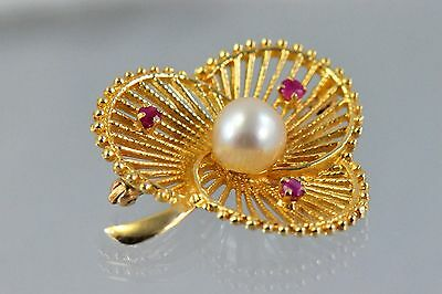 14k Yellow Gold 3-Wing Shaped Brooch Pin with Pearl and Ruby 6.6g, Mint