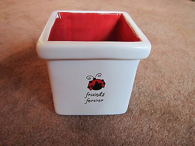 Ladybug Cute Container Planter Pencil Cup FRIENDS FOREVER Square