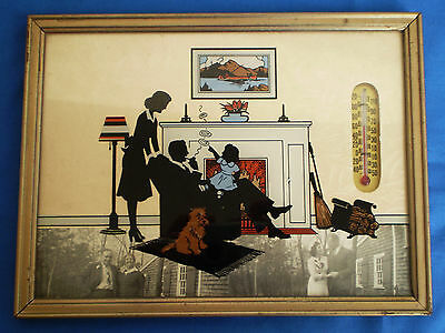 Vtg Reverse Painted Glass Silhouette Family & Dog by Hearth with Thermometer