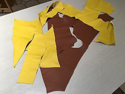 European Leather Off Cuts, 480gms Colour Yellow And Tan