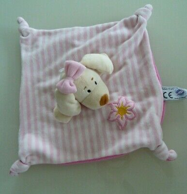 C6- Tres Beau Doudou Plat  Mgm Dodo D'amour - Chien Rose & Blanc Raye - Neuf *