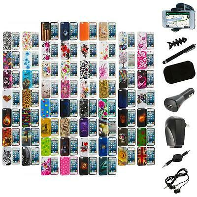 Color TPU Design Soft Rubber Skin Case Cover+8X Accessory for iPhone 5 5S
