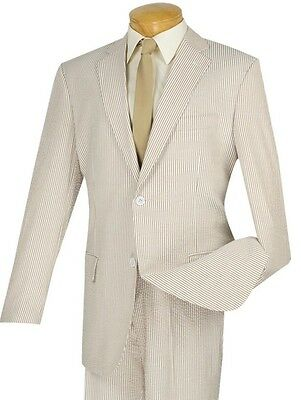 Men's Tan Striped Seersucker 2 Button Classic Fit Suit 100% Cotton NEW