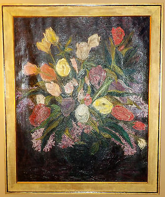 Vintage Oil/Canvas Expressionist Still Life Painting, Bouquet Of Flowers,Signed