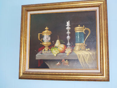 Nice Vintage Oil/Canvas Still Life Painting by Jozsef Molnar (Hungarian 1939-)